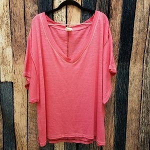 FP Pink My Boyfriends Slub Knit Oversized Tee